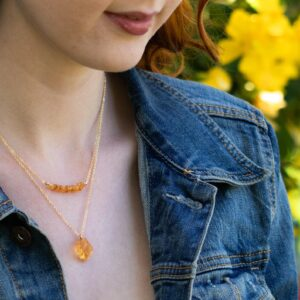 raw citrine necklace layered with citrine bar necklace as a set