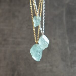 Aquamarine Necklace with silver and gold chain