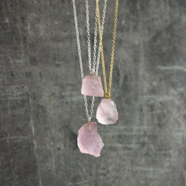 Raw rose quartz necklaces with different shapes and silver and gold chains