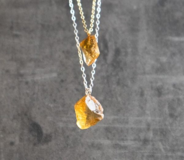 raw citrine necklace, pendant with silver and gold chains