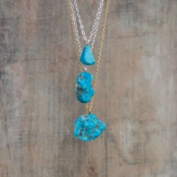 raw turquoise necklace, december birthstone