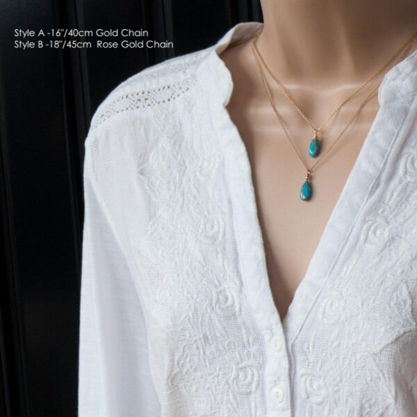 Turquoise Necklace with different chain sizes on model