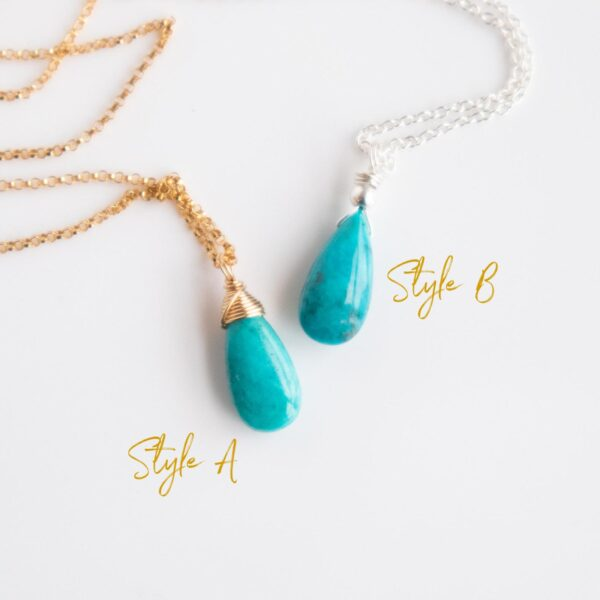 Turquoise Necklace in 2 styles, Gold finish and silver finish