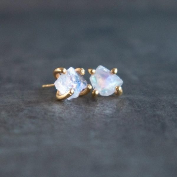 Moonstone earrings, rainbow shine can be seen in the stone