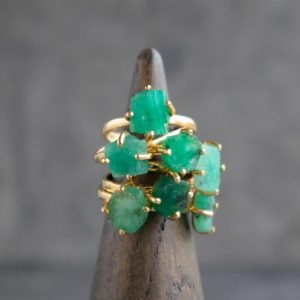 raw emerald ring is a may birthstone and great as an engagement ring
