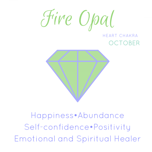 Fire opal info card. Heart chakra. Opal is October birthstone. Happiness, abundance and self confidence