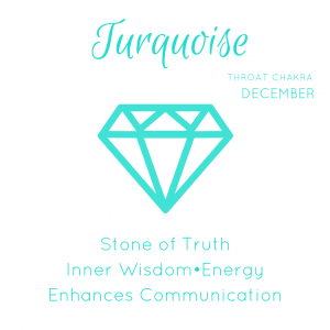 Turquoise Gemstone Info Card. Turquoise is for throat chakra and a December birthstone. It is the stone of truth, inner wisdom, energy and it enhances communication