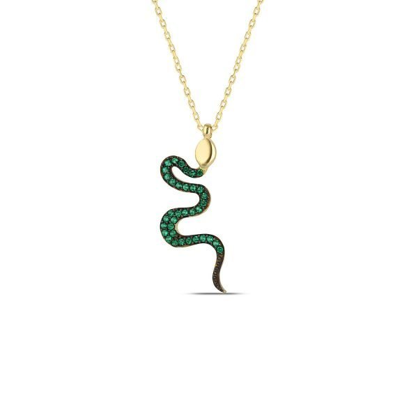 Snake Necklace Pendant, Silver Necklace with Gold Finish